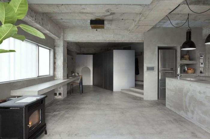 wandgestaltung ideen betonwände pflanzen wohnideen innenarchitektur