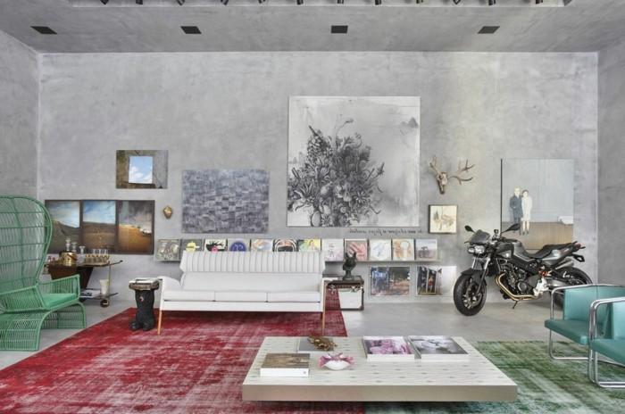 wandgestaltung ideen betonwände wohnzimmer vintage teppiche