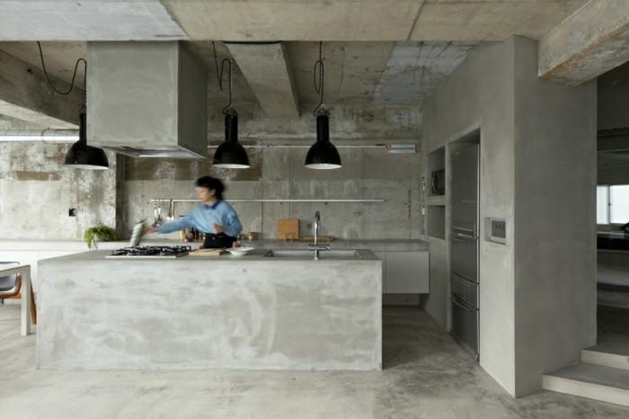 wandgestaltung ideen küche eirichten beton