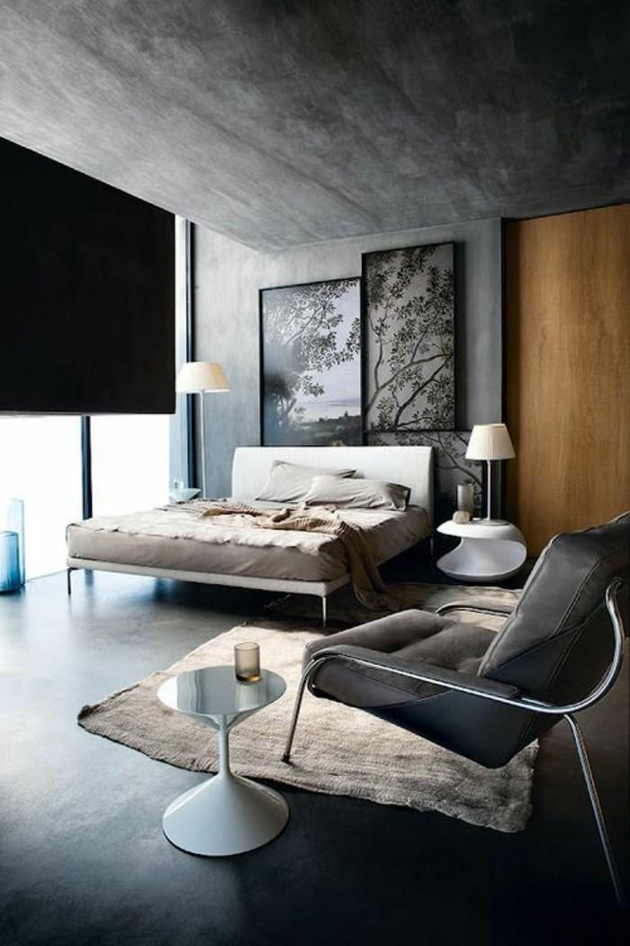 wandgestaltung ideen schlafzimmer betonwände dunkler bodenbelag