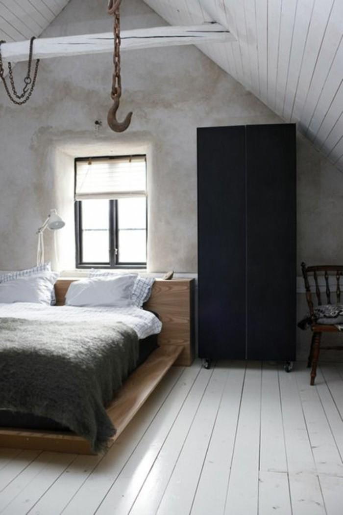 wandgestaltung ideen schlafzimmer betonwände schwarzer kleiderschrank heller bodenbelag