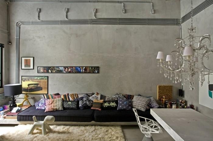 wandgestaltung ideen wohnideen wohnzimmer leuchter betonwände