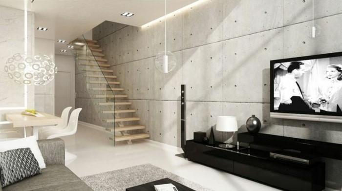wandgestaltung ideen wohnzimmer betonwände innentreppen