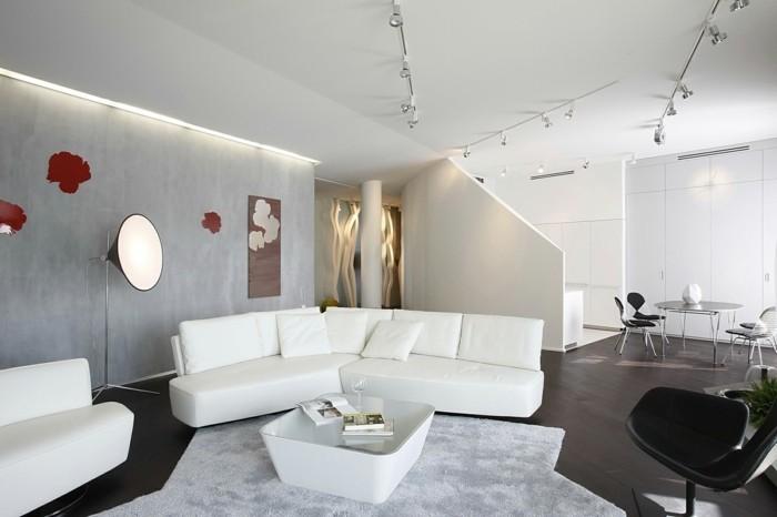 wandgestaltung ideen wohnzimmer weiße betonwände weißes sofa wanddeko