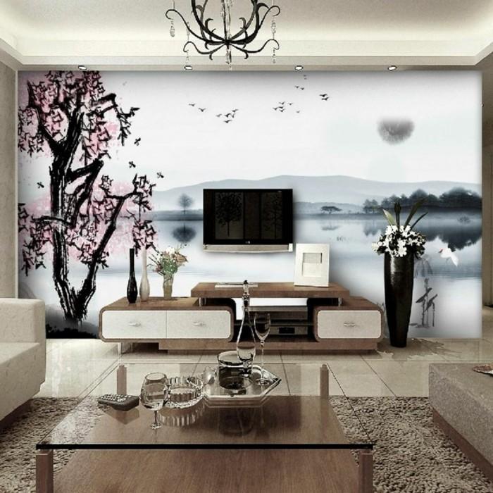 wandmalerei macht das wohnzimmer noch wohnlicher 30 beispiele f r sch nes wanddesign. Black Bedroom Furniture Sets. Home Design Ideas