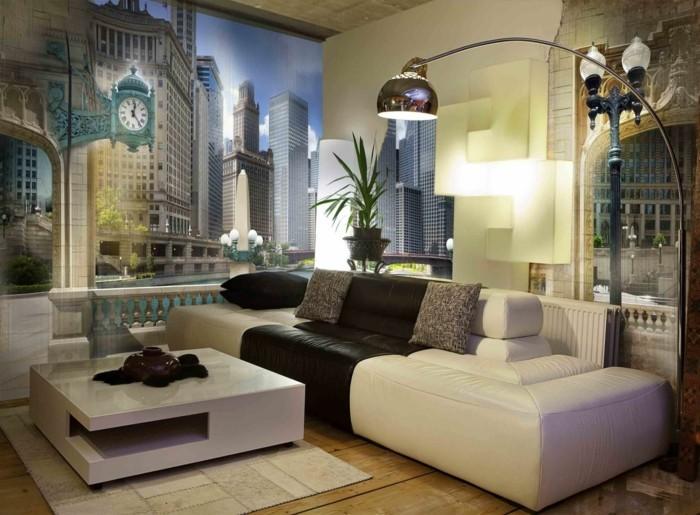 Captivating Wandmalerei Dekoideen Wohnzimmer Stadt Creme Sofa Holzboden Moderner  Couctisch