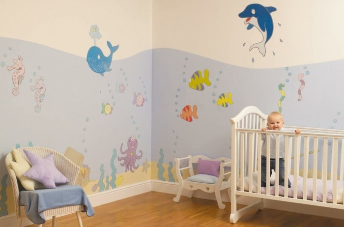 wandmalerei kinderzimmer babyzimmer dekoideen meer
