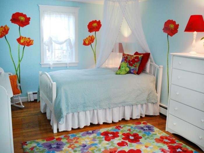 wandmalerei kinderzimmer blumen mädchenzimmer cooler teppich