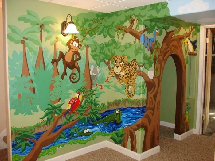 wandmalerei kinderzimmer dschungel exotisch wanddesign ideen