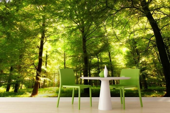 Wohnzimmer ideen wandgestaltung grün  Wandmalerei macht das Wohnzimmer noch wohnlicher - 30 Beispiele ...