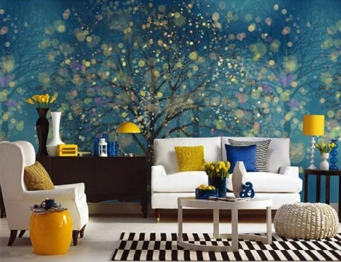 wandmalerei wohnzimmer akzentwand weiße möbel