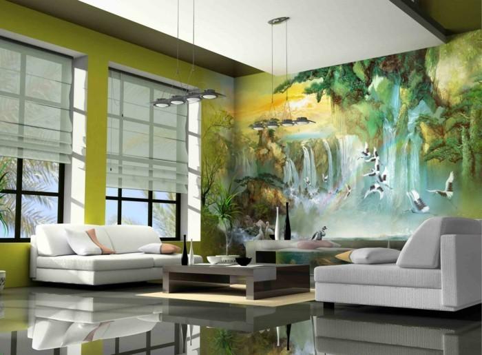 wandmalerei wohnzimmer dekorieren grüne wände weiße sofas