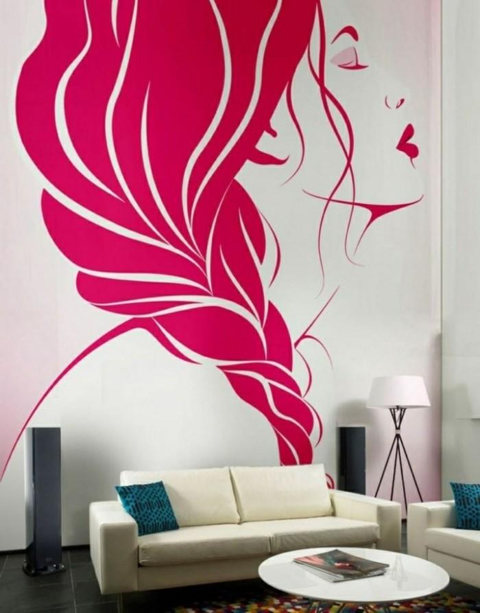 wandmalerei wohnzimmer dekorieren runder couchtisch mädchen abbildung
