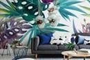 wandmalerei-wohnzimmer-wanddesign-blumenmuster-graues-sofa-hellgrauer-teppich
