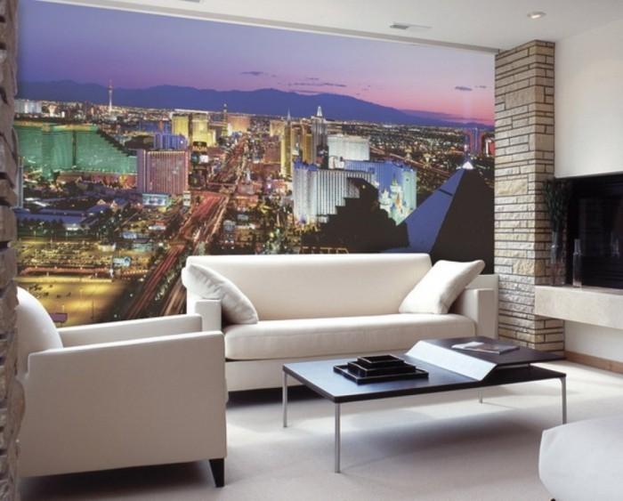 wandmalerei wohnzimmer weiße möbel dekoideen