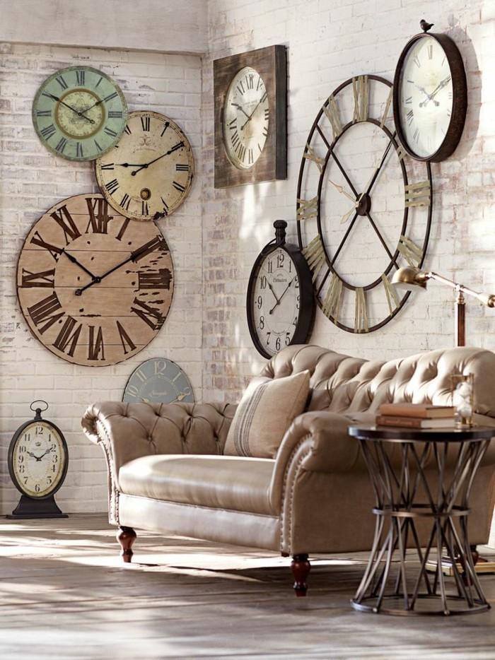 wanduhr vintage 22 praktische und sthetische wanddeko ideen. Black Bedroom Furniture Sets. Home Design Ideas