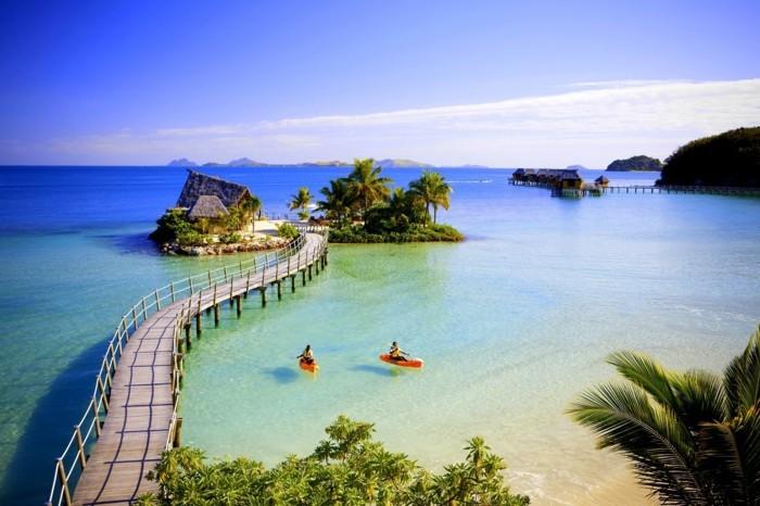 weltreisen weltreise fiji insel ferien natur park vulkan sonnenuntergang