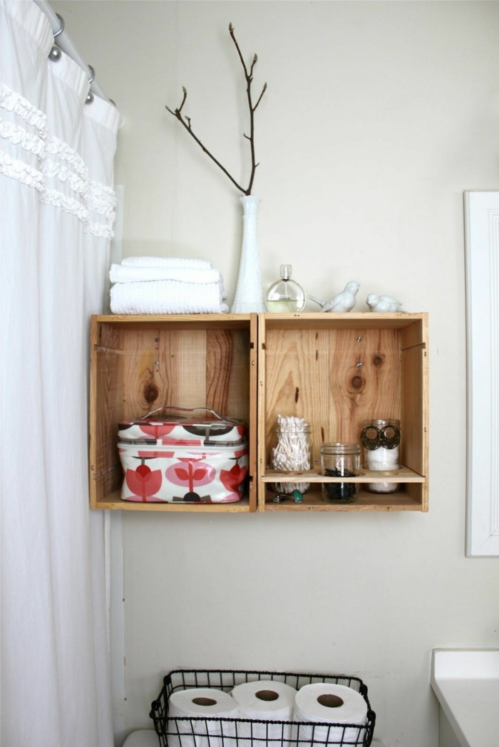 winkisten deko weinkiste regal weinregal wandgestaltung regal wandregal badezimmer