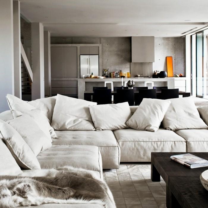 Wohneinrichtung ideen mit wandverkleidung aus beton und for Wohneinrichtung ideen wohnzimmer