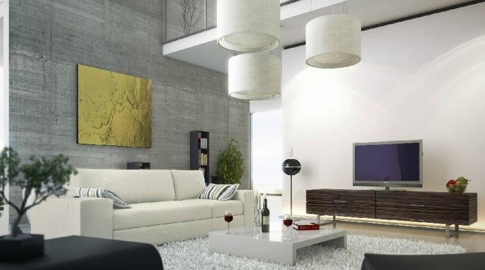 wohneinrichtung ideen wohnzimmer einrichten ideen weißer teppich wanddeko fernseher