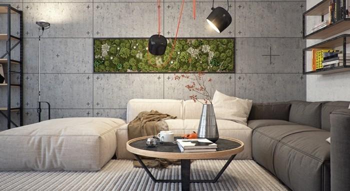 wohneinrichtung ideen wohnzimmer wandgestaltung betonwände
