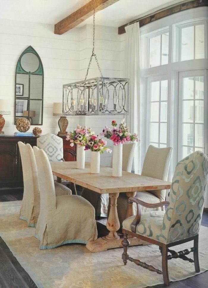 wohnideen esszimmer landhausstil schöne muster und stilvoller leuchter