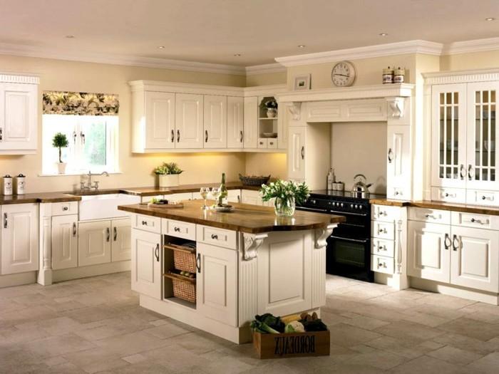 Wohnideen Küche Creme Einrichtung Bodenfliesen Raffollo