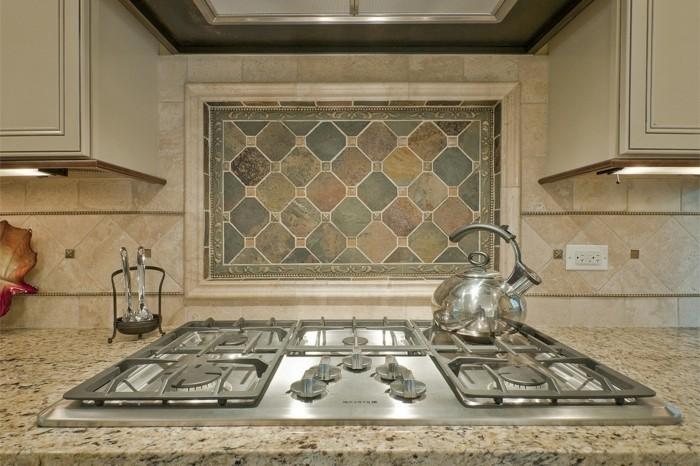 wohnideen küche creme küchenrückwand schöne arbeitsoberfläche