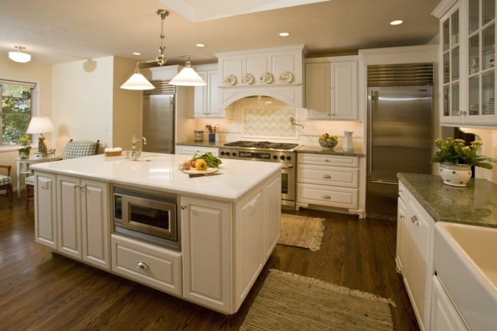 wohnideen küche creme möbel teppichläufer