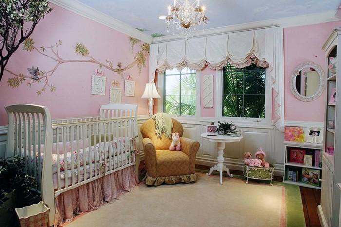 wohnideen kinderzimmer babyzimmer dekoideen hellrosa wände wandmalerei