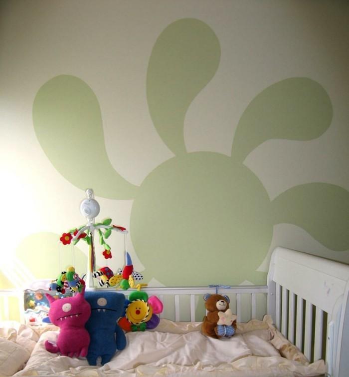 wohnideen kinderzimmer babyzimmer wandmalerei hellgrüne wand