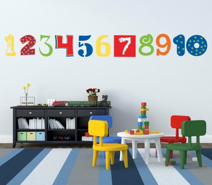 wohnideen kinderzimmer dekoideen nummern streifenteppich