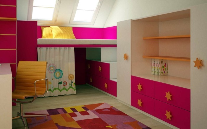 wohnideen kinderzimmer farbiges interieur cooler teppich dachschräge