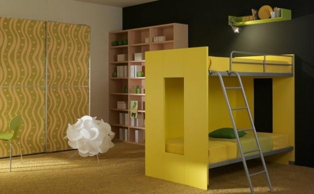 wohnideen-kinderzimmer-kinderhochbett-gelbes-design-teppichboden-coole-leuchte