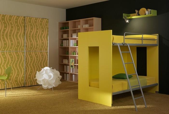 wohnideen kinderzimmer kinderhochbett gelbes design teppichboden coole leuchte