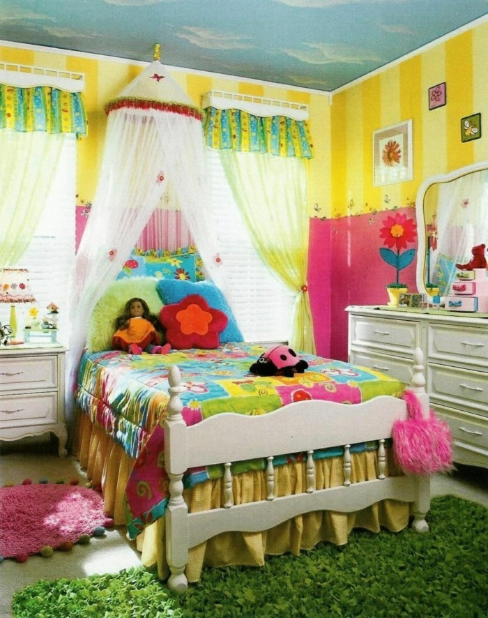wohnideen kinderzimmer mädchenzimmer wandmalerei zimmerdecke teppiche