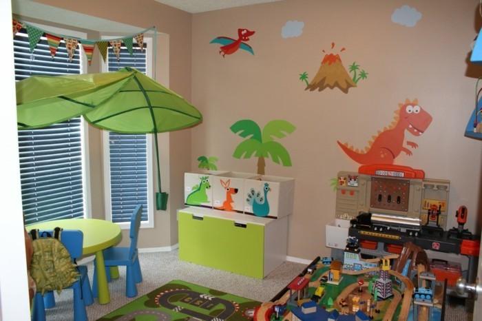 wohnideen kinderzimmer wanddeko wandmalerei teppich kindermöbel