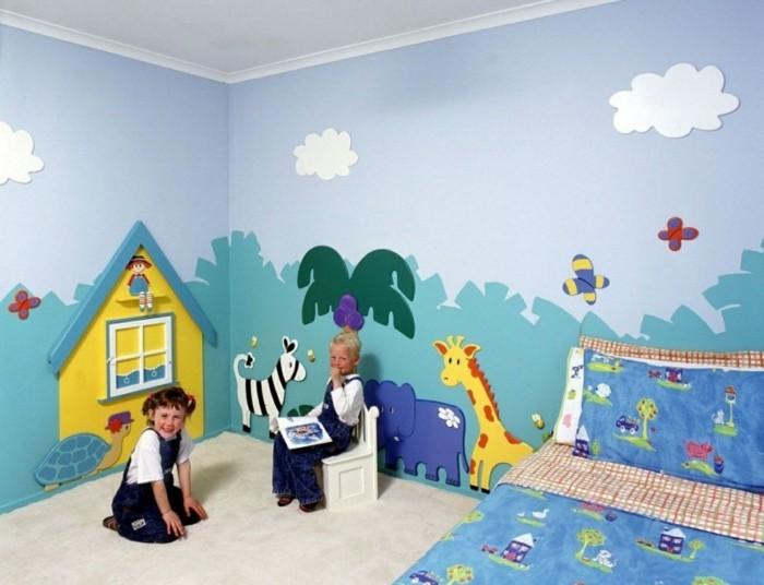 wohnideen kinderzimmer wandgestaltung ideen wandmalerei farbige bettwäsche