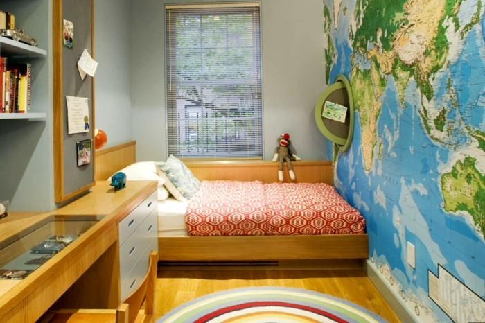 wohnideen kinderzimmer weltkarte akzentwand runder teppich