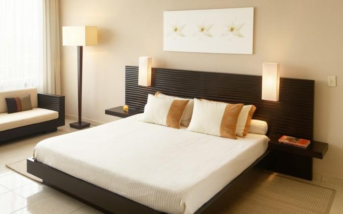 wohnideen schlafzimmer dekoideen stehlampe nachtleuchten bodenfliesen