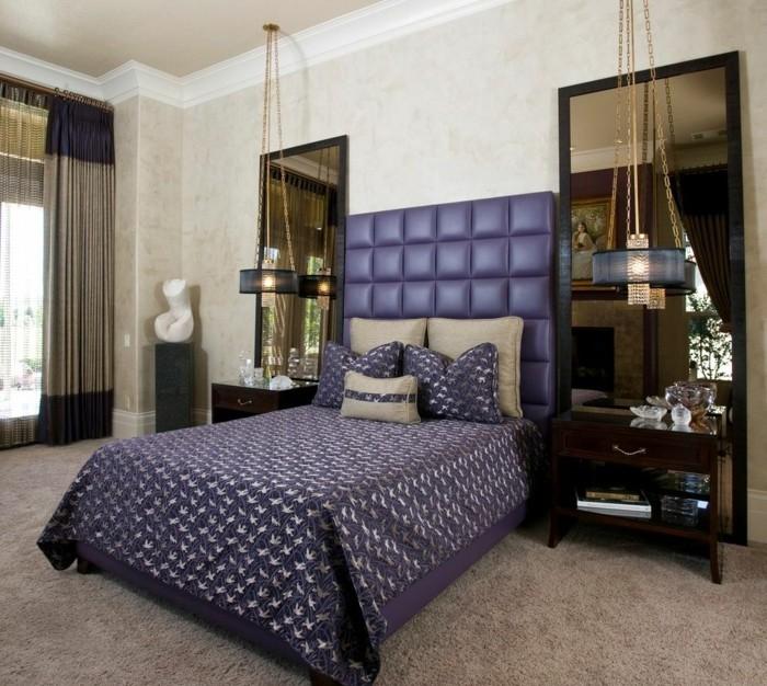 wohnideen schlafzimmer hängelampen teppichboden beige schöne bettwäsche