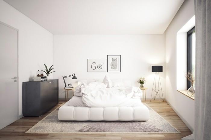 wohnideen schlafzimmer skandinavisches design weiße wände holzboden