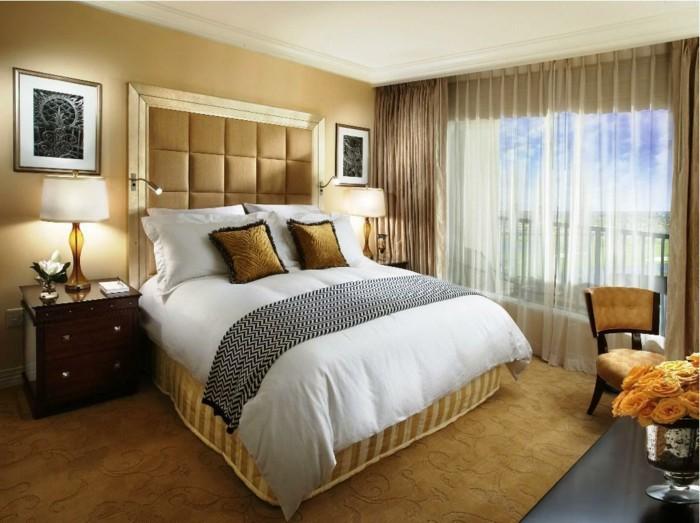 wohnideen schlafzimmer teppich wandfarbe beige wanddeko