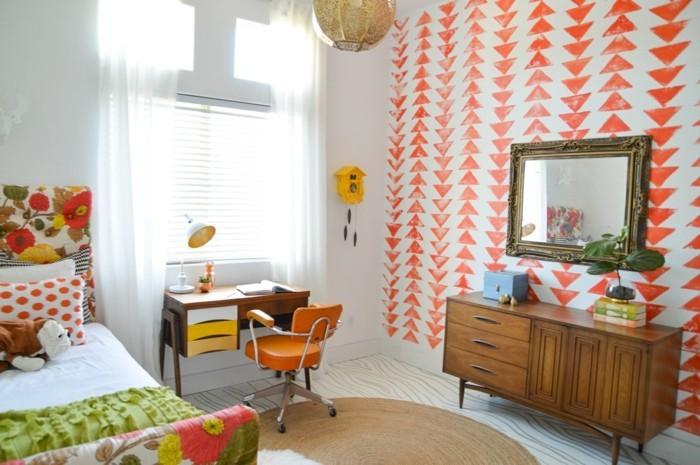 wohnideen schlafzimmer vintage tapete kinderzimmer runder teppich
