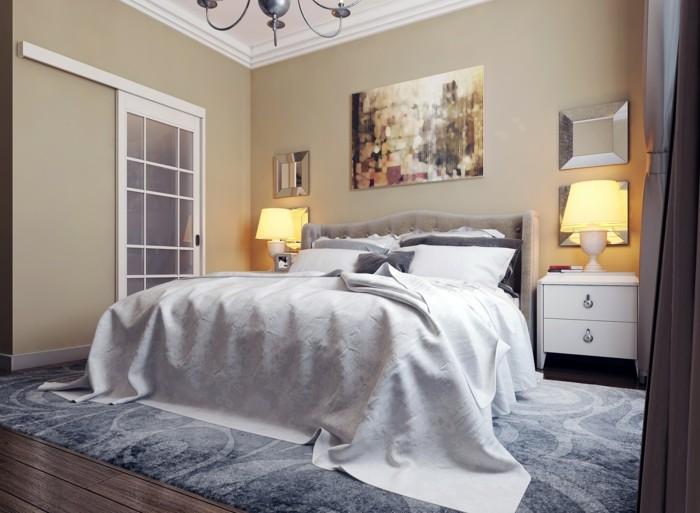 wohnideen schlafzimmer beige wände nachttischlampen grauer teppich