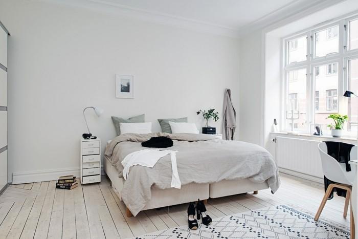 wohnideen schlafzimmer weiße wände pflanzen skandinavischer stil