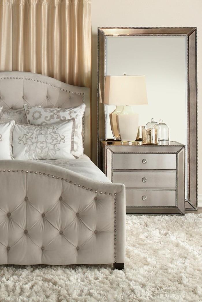 wohnideen schlafzimmer weißer teppich stilvolles bett