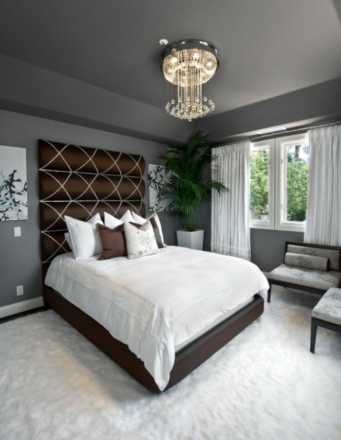 wohnideen schlafzimmer weißer teppichboden pflanzen graue wände