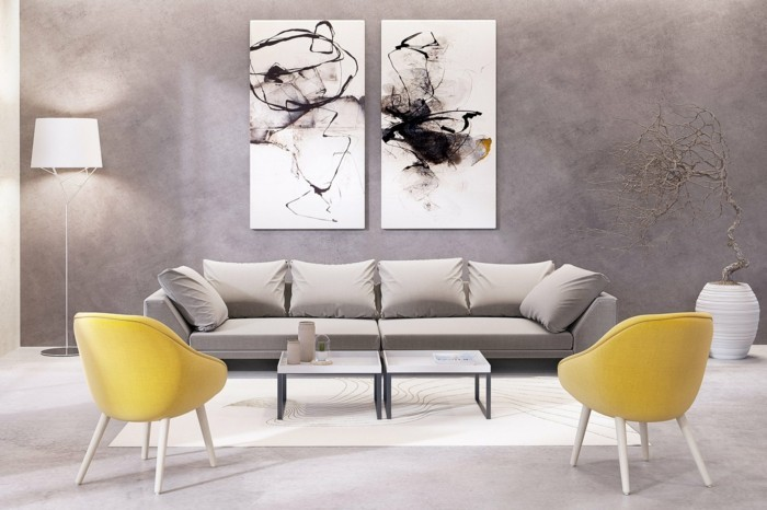 Wohnideen Wohnzimmer Abstrakte Kunst Und Gelbe Sessel Wandbilder Wohnzimmer  U2013 50 Ideen, Wie Sie Die Wohnzimmerwände Mit Wandbildern Dekorieren ...