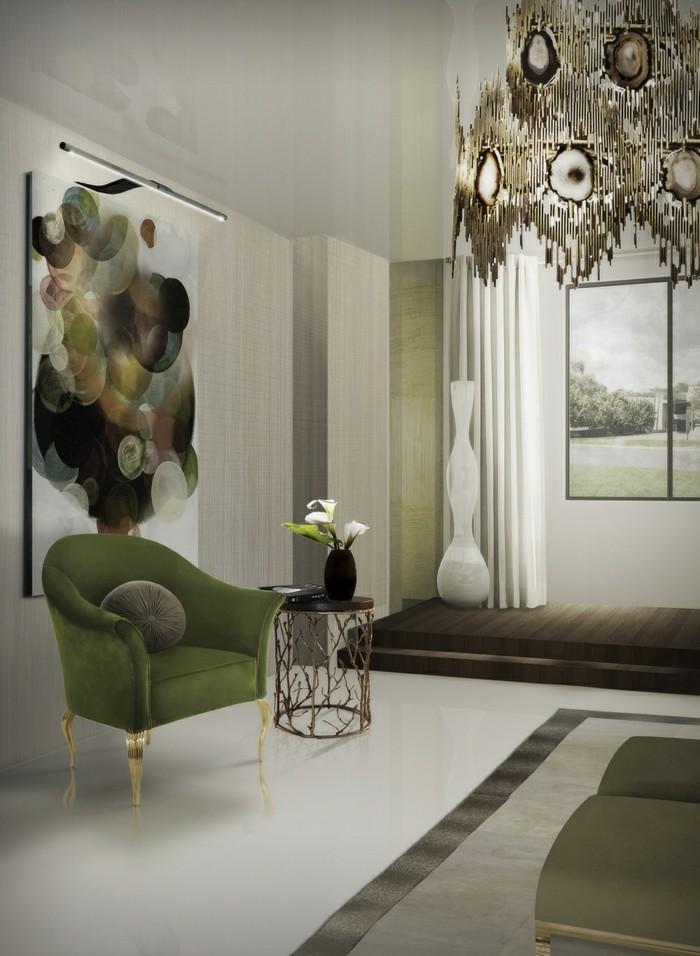 wohnideen wohnzimmer ausgefallenes wanddesign und schicke möbel